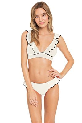 Banded Ruffle Over The Shoulder Bikini Top