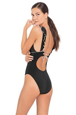 Ruffle V-Neck One Piece Swimsuit