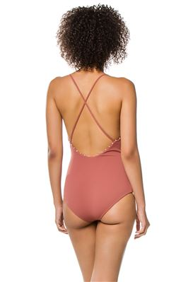 Ribbed Plunge X-Back One Piece Swimsuit