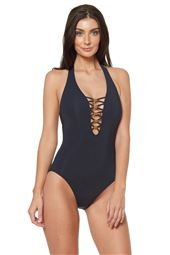 Strappy Plunge Halter One Piece Swimsuit