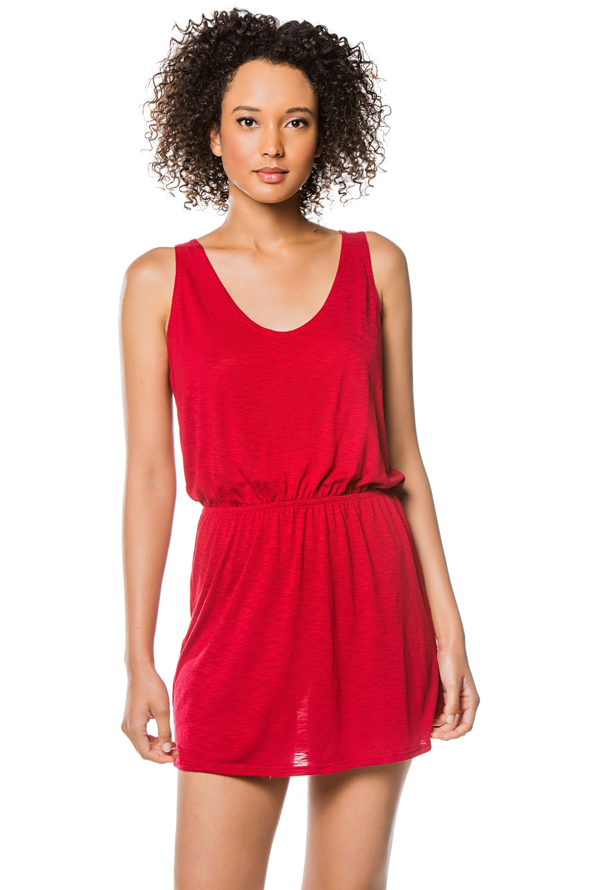 Scoop Neck Tank Dress - Crimson 1