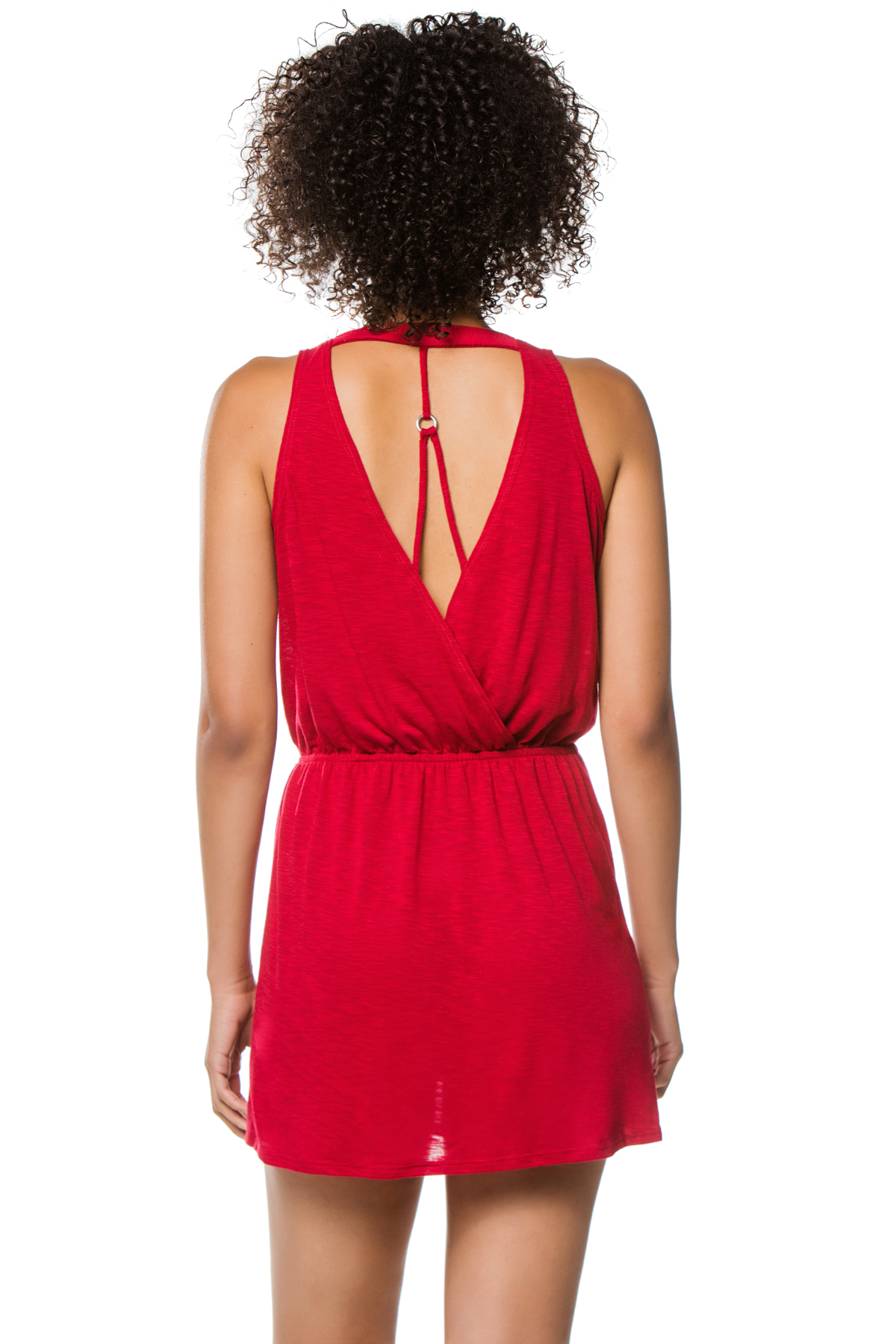 Scoop Neck Tank Dress - Crimson 2