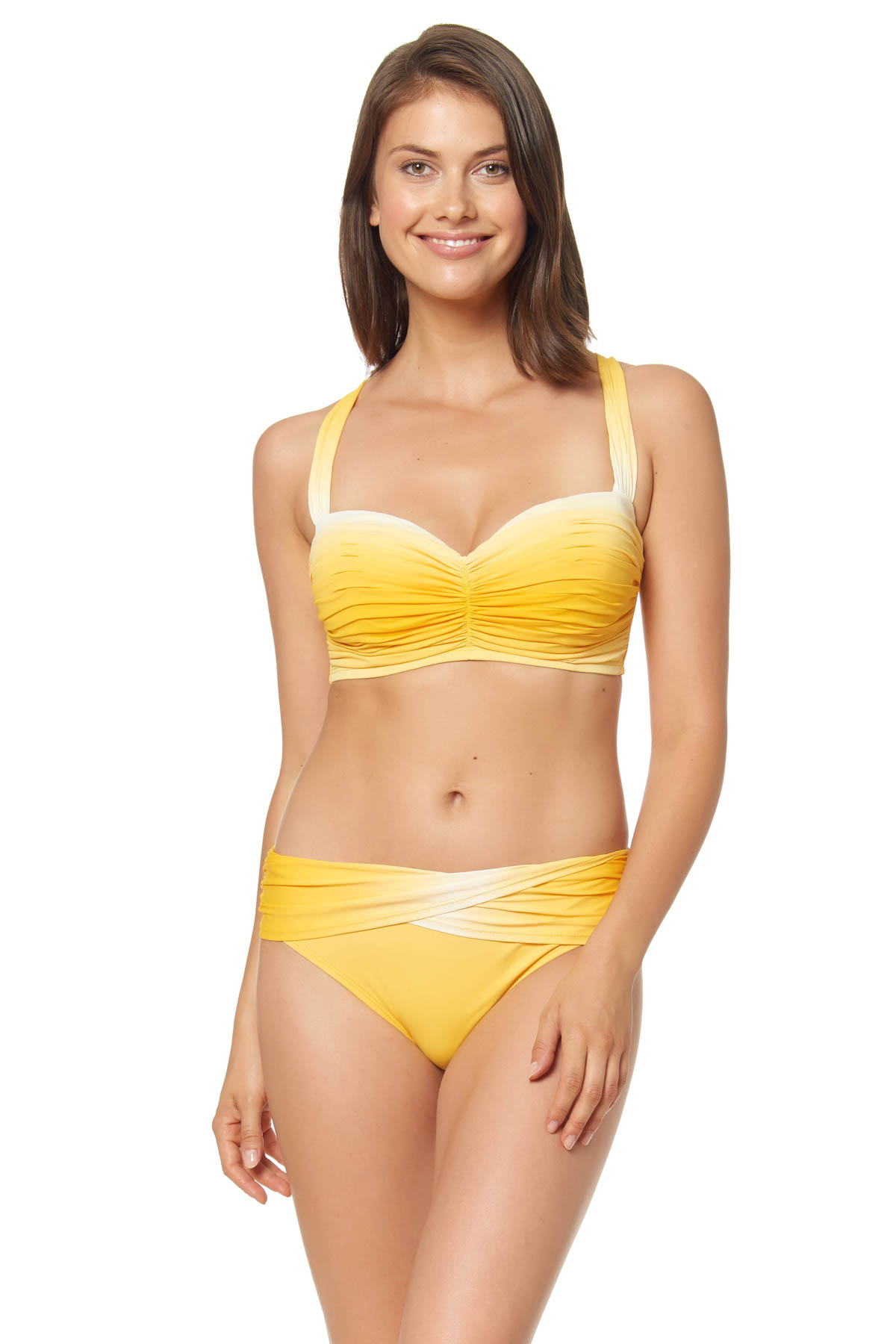 Ombré Underwire Bralette Bikini Top (D Cup) - Sunset Yellow 1