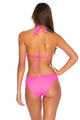 Ribbed Double Strap Sliding Halter Bikini Top (D+ Cup)