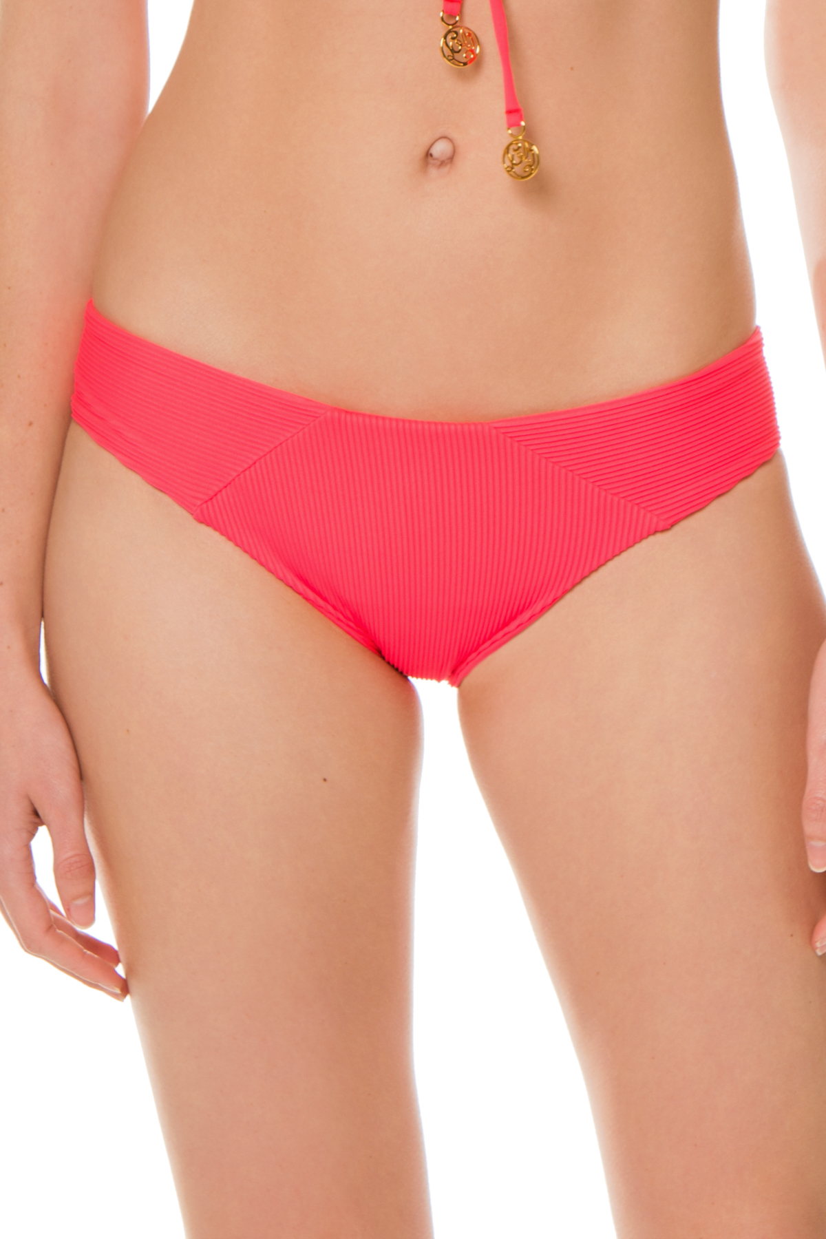 Ribbed Tab Side Hipster Bikini Bottom - Flamingo 1