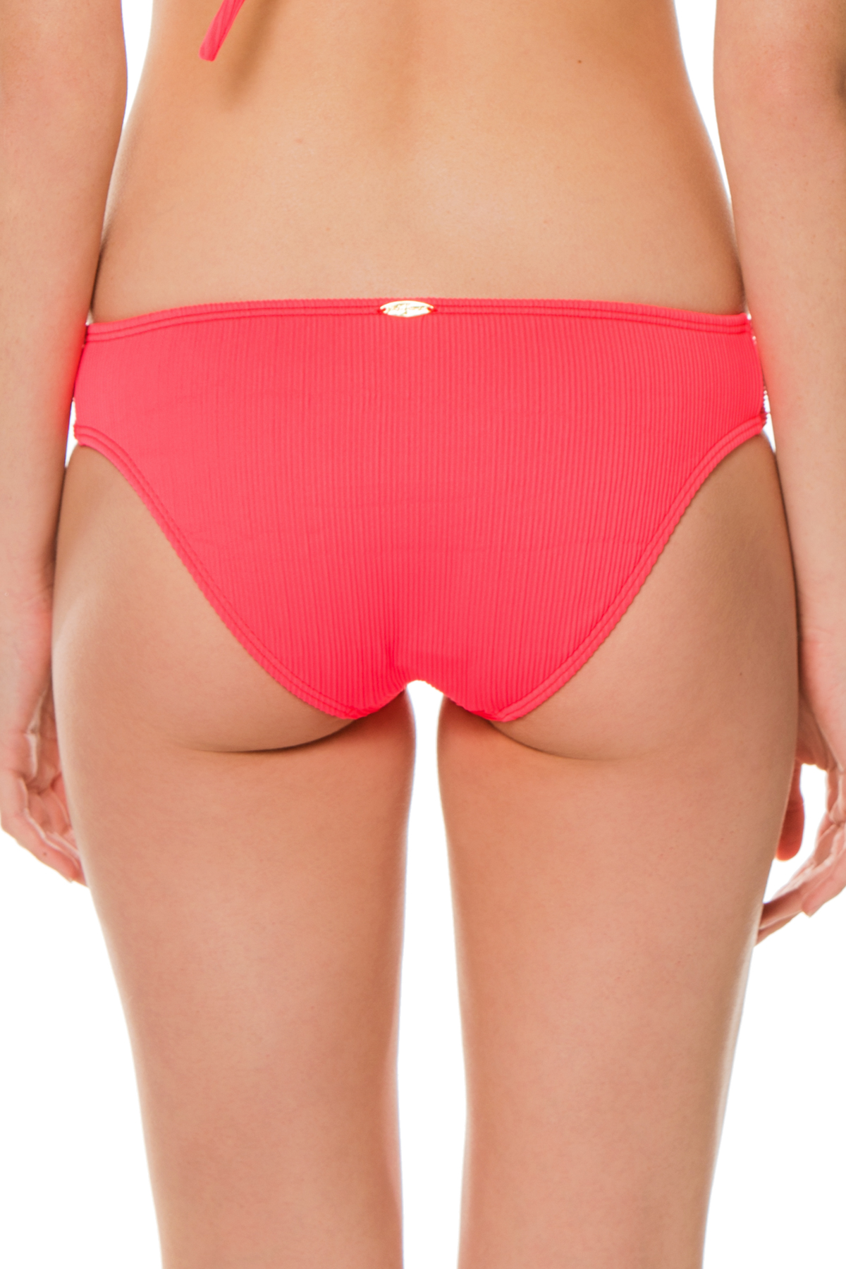 Ribbed Tab Side Hipster Bikini Bottom - Flamingo 2