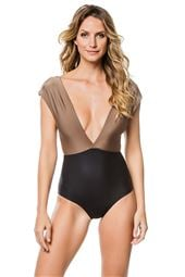 Roge Bicolor Plunge One Piece Swimsuit