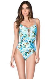 Strappy Over the Shoulder One Piece Swimsuit