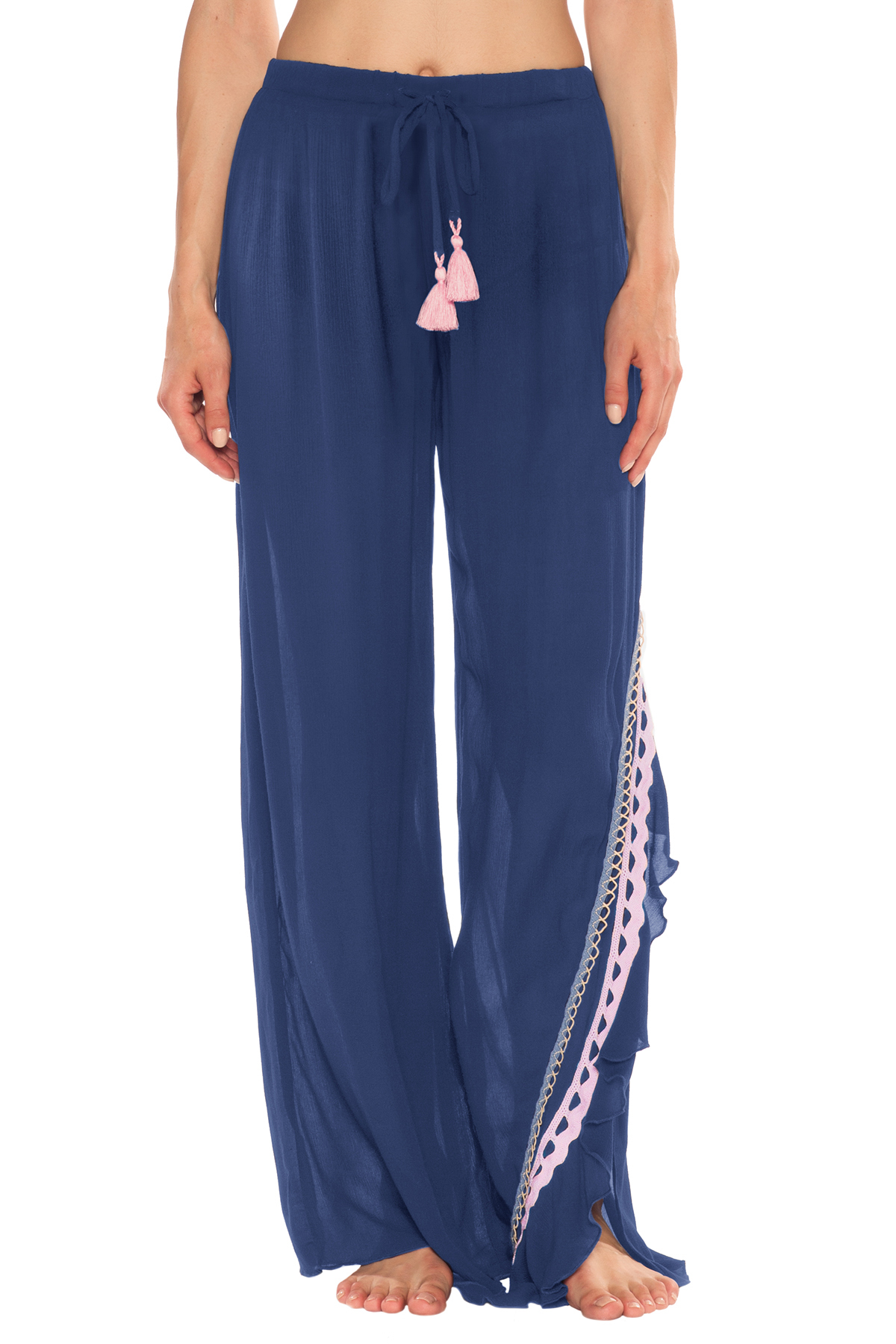 Rickrack Cover Pants - Navy 1