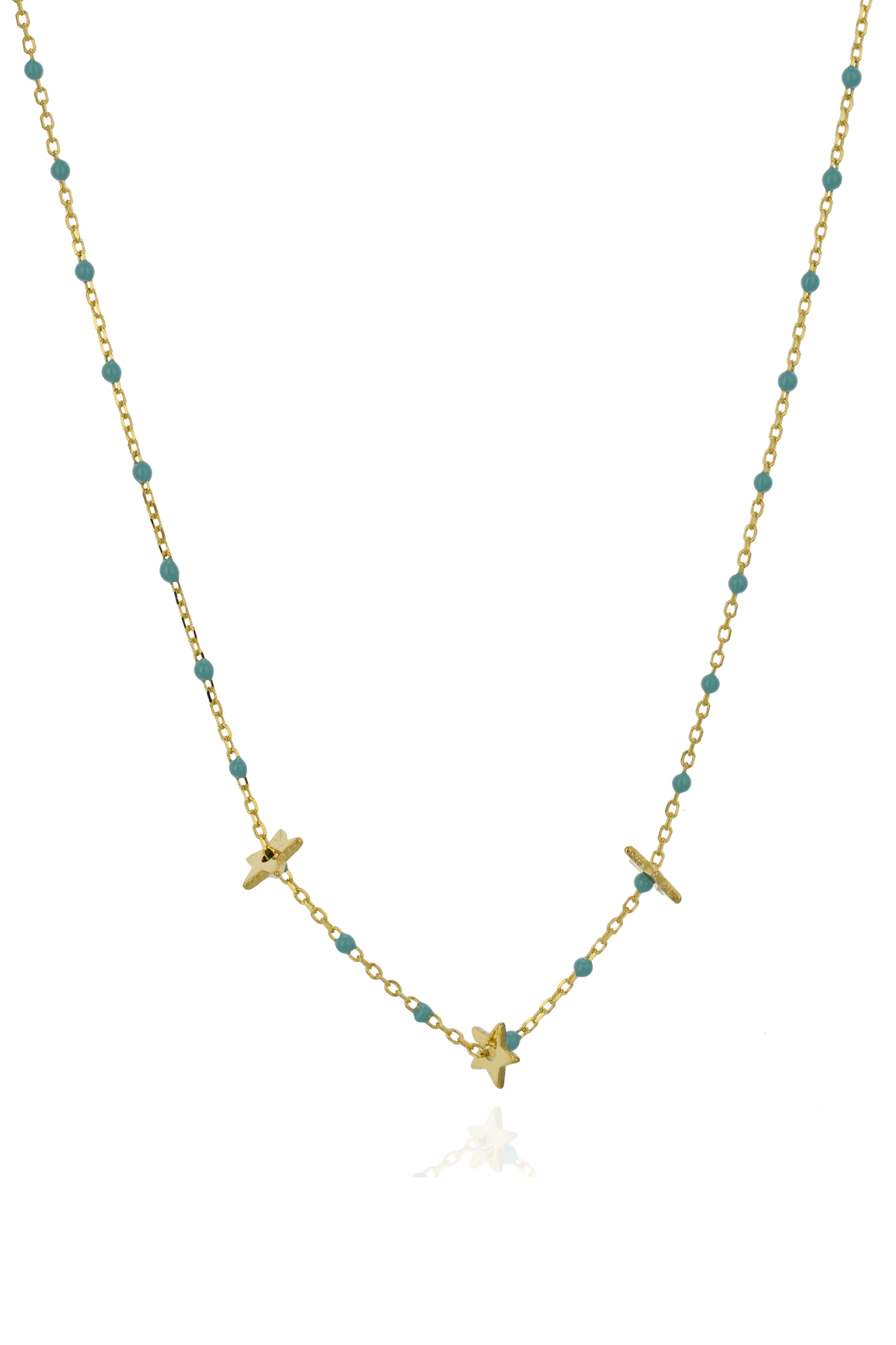 Beaded Star Charm Necklace - Gold 1
