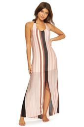 Vertical Stripe Maxi Halter Dress