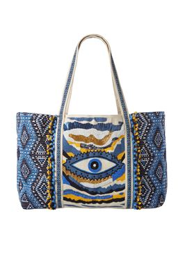 Evil Eye Embroidered Pom Pom Tote