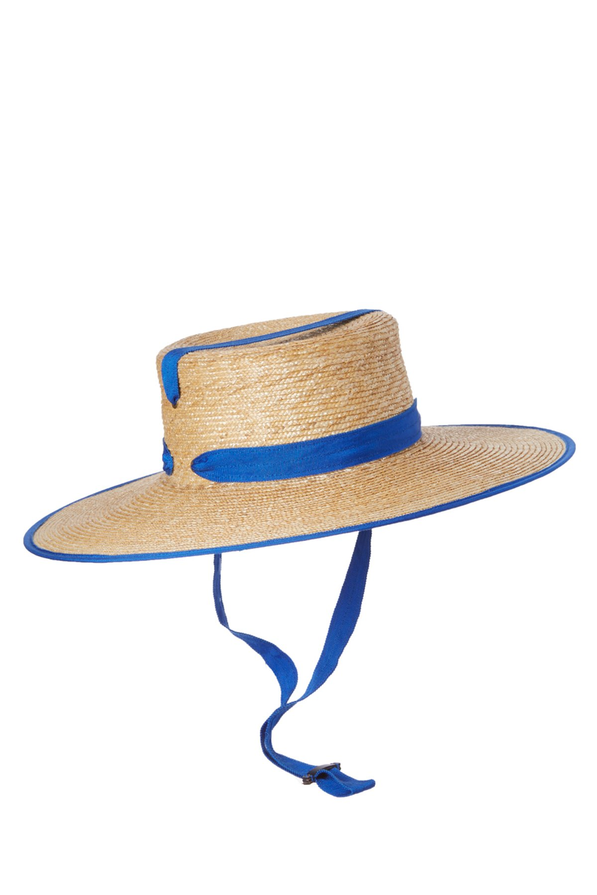 Zorro Bis Ribbon Trim Wide Brim Hat - Natural/Cobalt 2