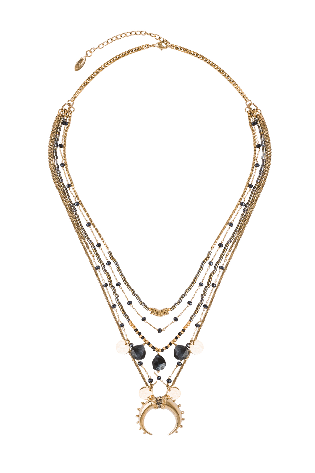Malene Beaded Moon Necklace - Gold 1