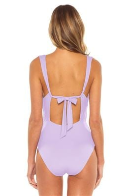 Pleated Plunge One Piece Swimsuit