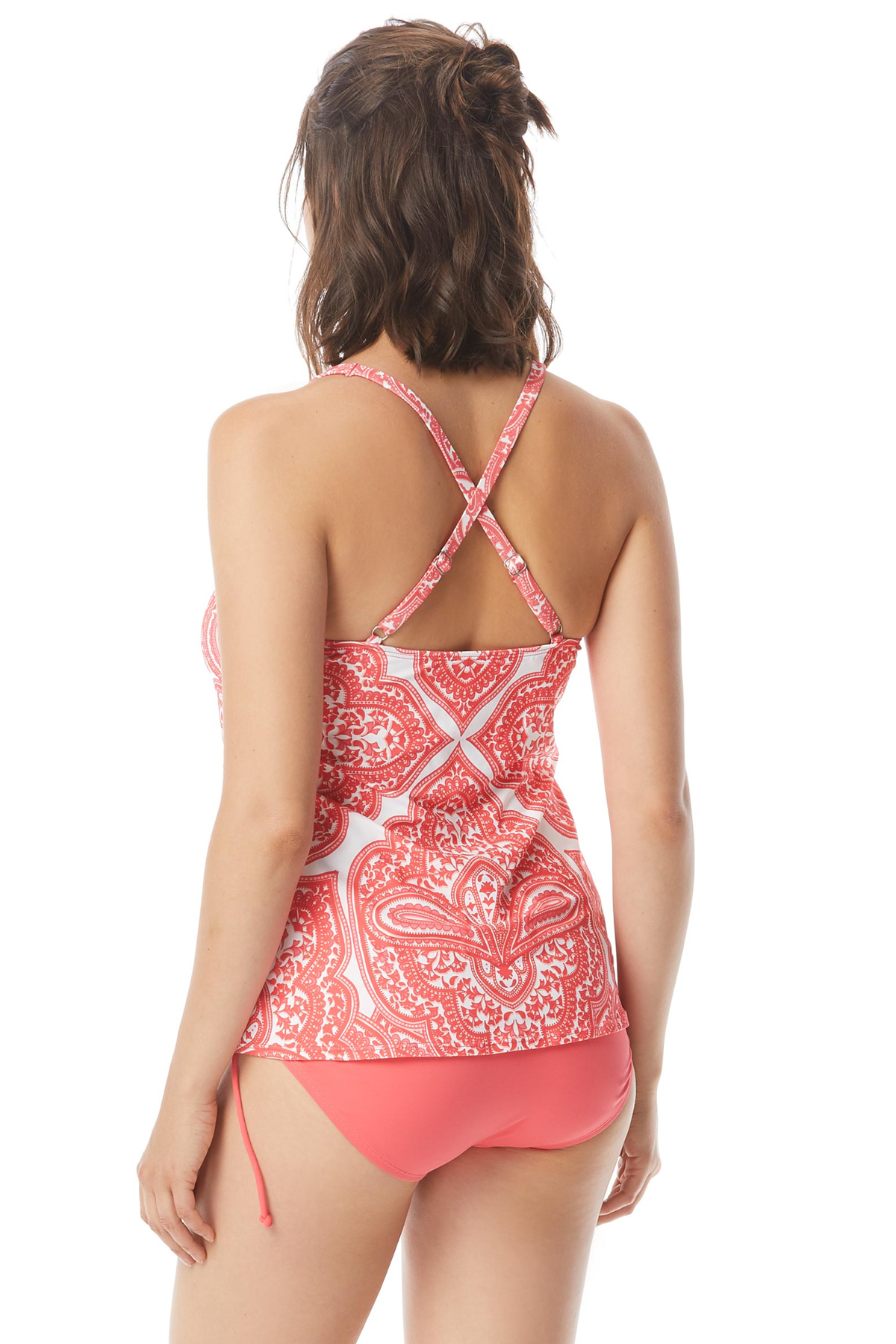 Courtney Lace Up X-Back Tankini Top - Tangerine 2
