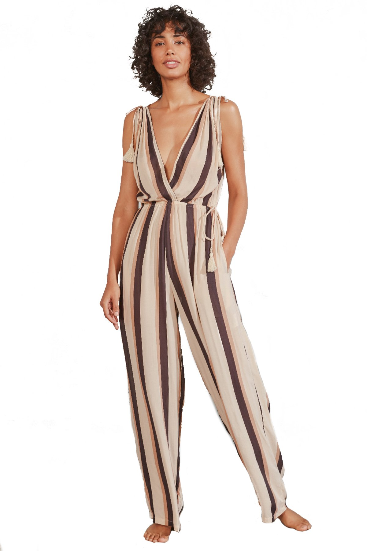 Taryn Vertical Stripe Jumpsuit - Smoke 1