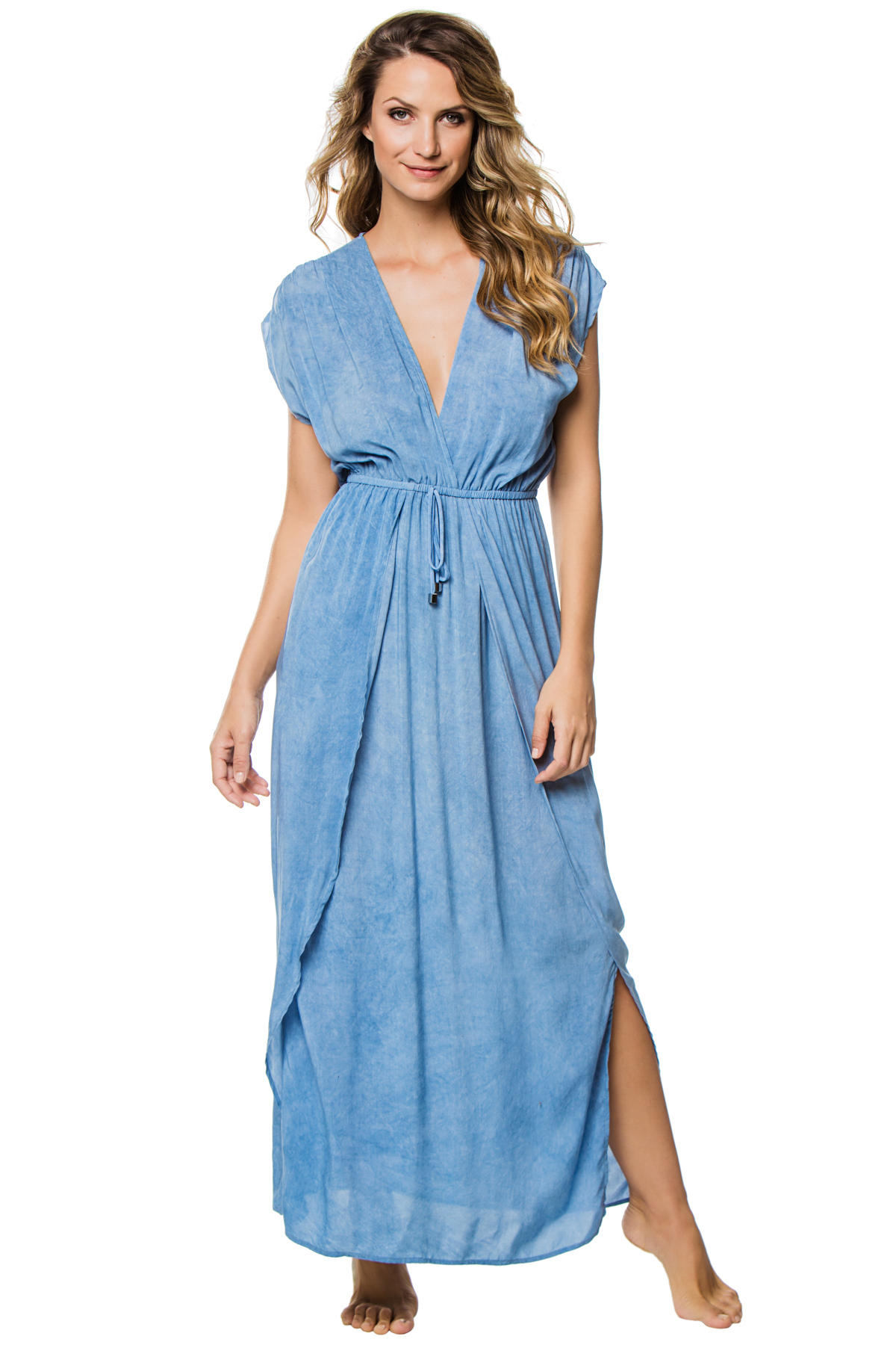 Deep V-Neck Caftan - Washed Blue 1