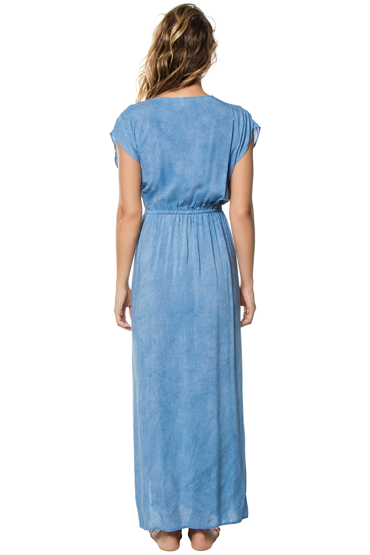 Deep V-Neck Caftan - Washed Blue 2