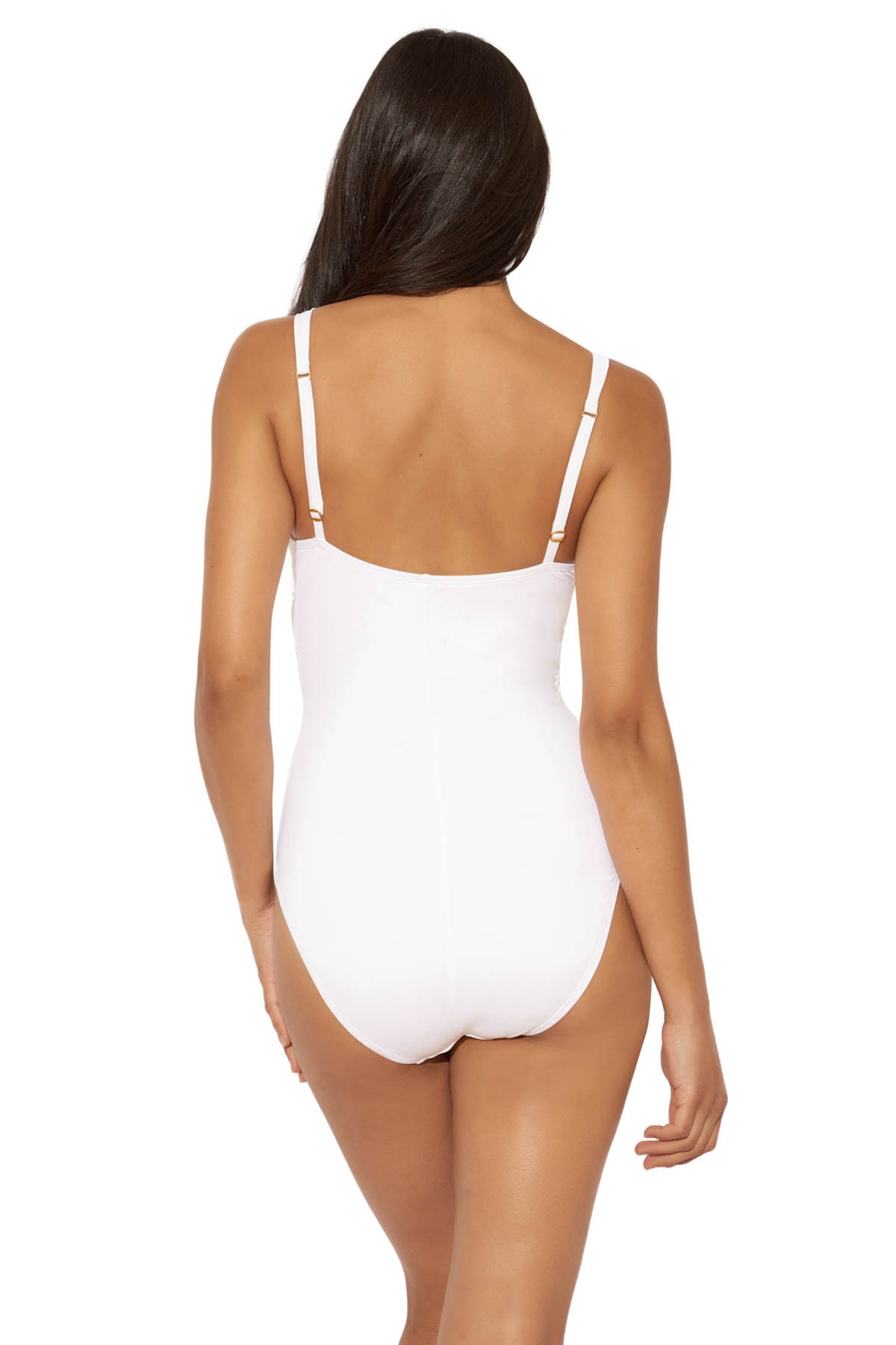 Lattice Over The Shoulder One Piece Swimsuit - White 2