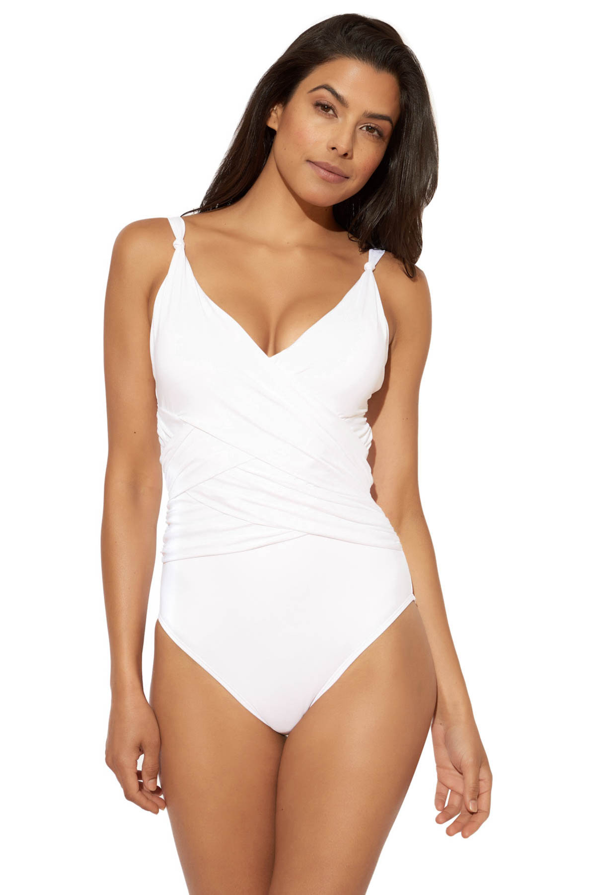 Lattice Over The Shoulder One Piece Swimsuit - White 1