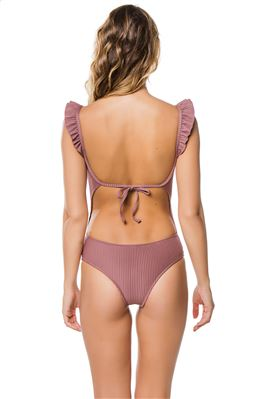 Rbbed Over The Shoulder One Piece Swimsuit
