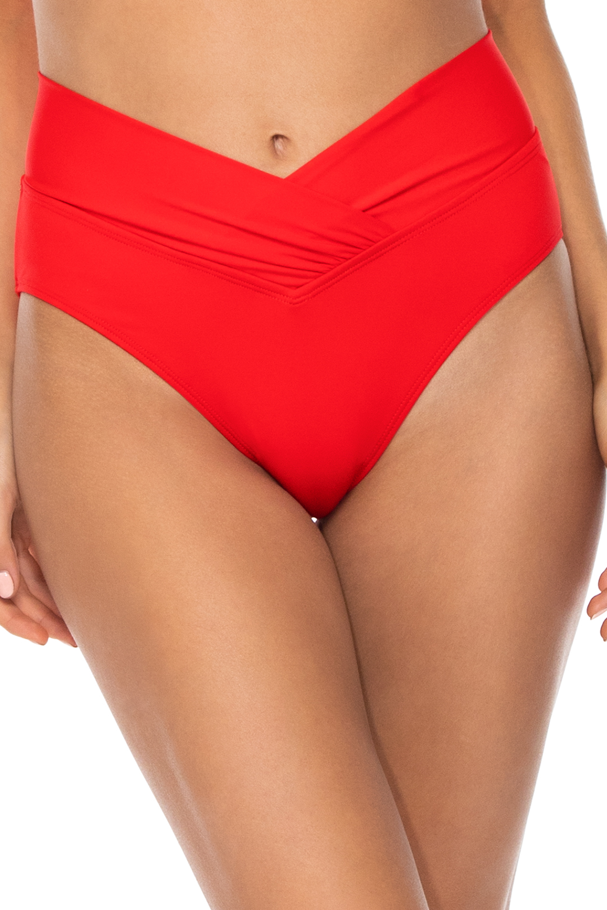 Summer Lovin' V-Front Banded High Waist Bikini Bottom - Scarlet 1