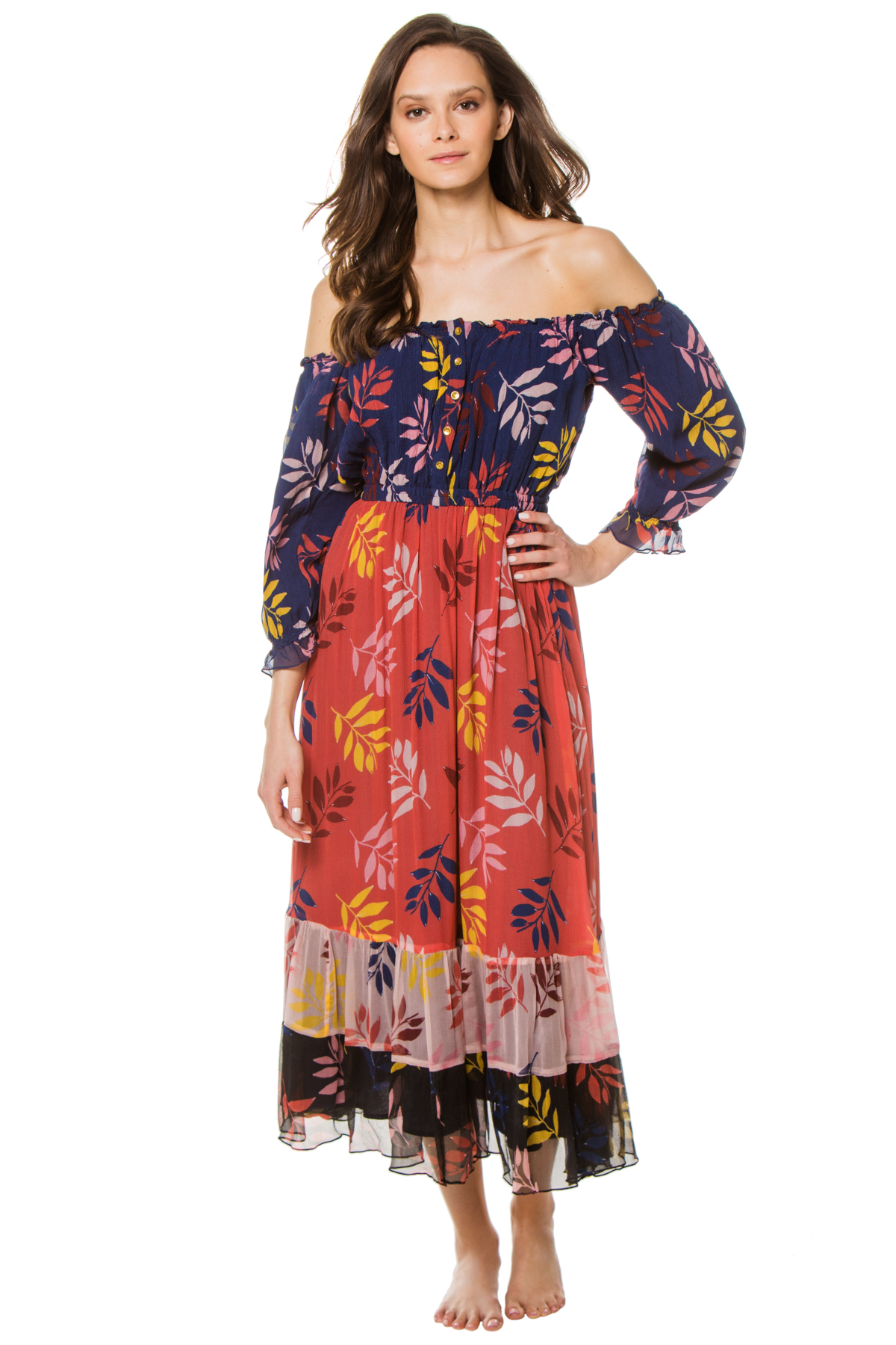 Alexa Off The Shoulder Maxi Dress - Multi Foliage 1
