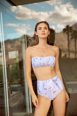 Pintucked High Waist Bikini Bottom