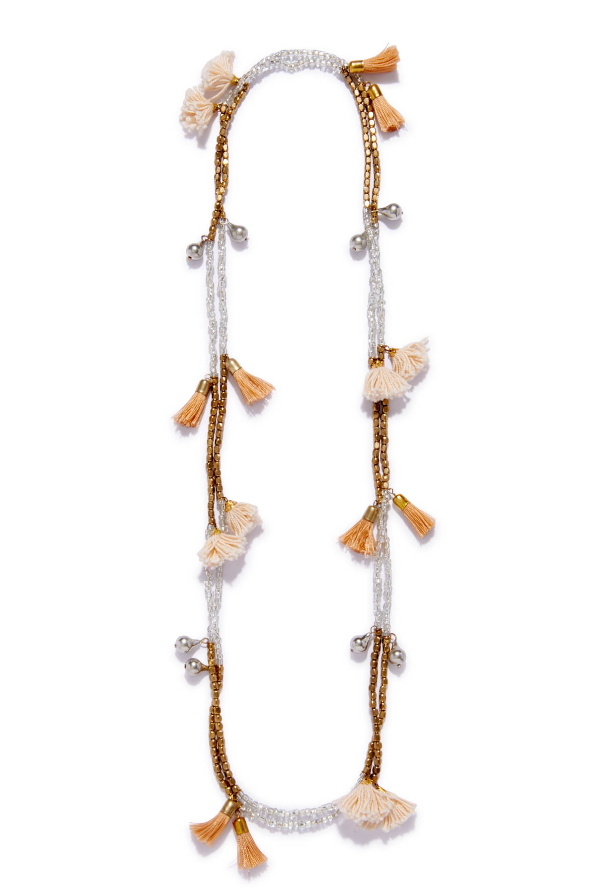 Metallic Tassel Necklace - Gold/Silver 1
