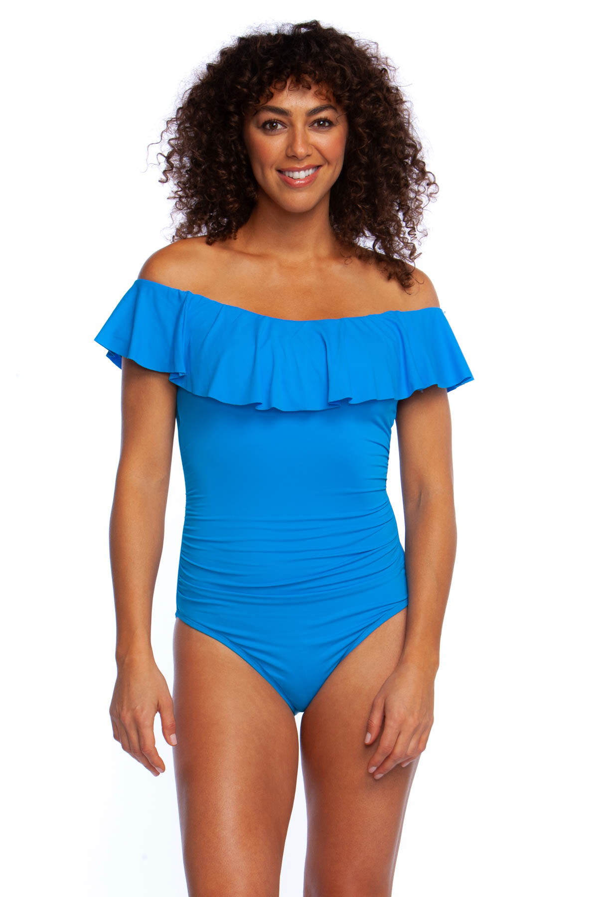 Flounce Bandeau One Piece Swimsuit - Chambray 3