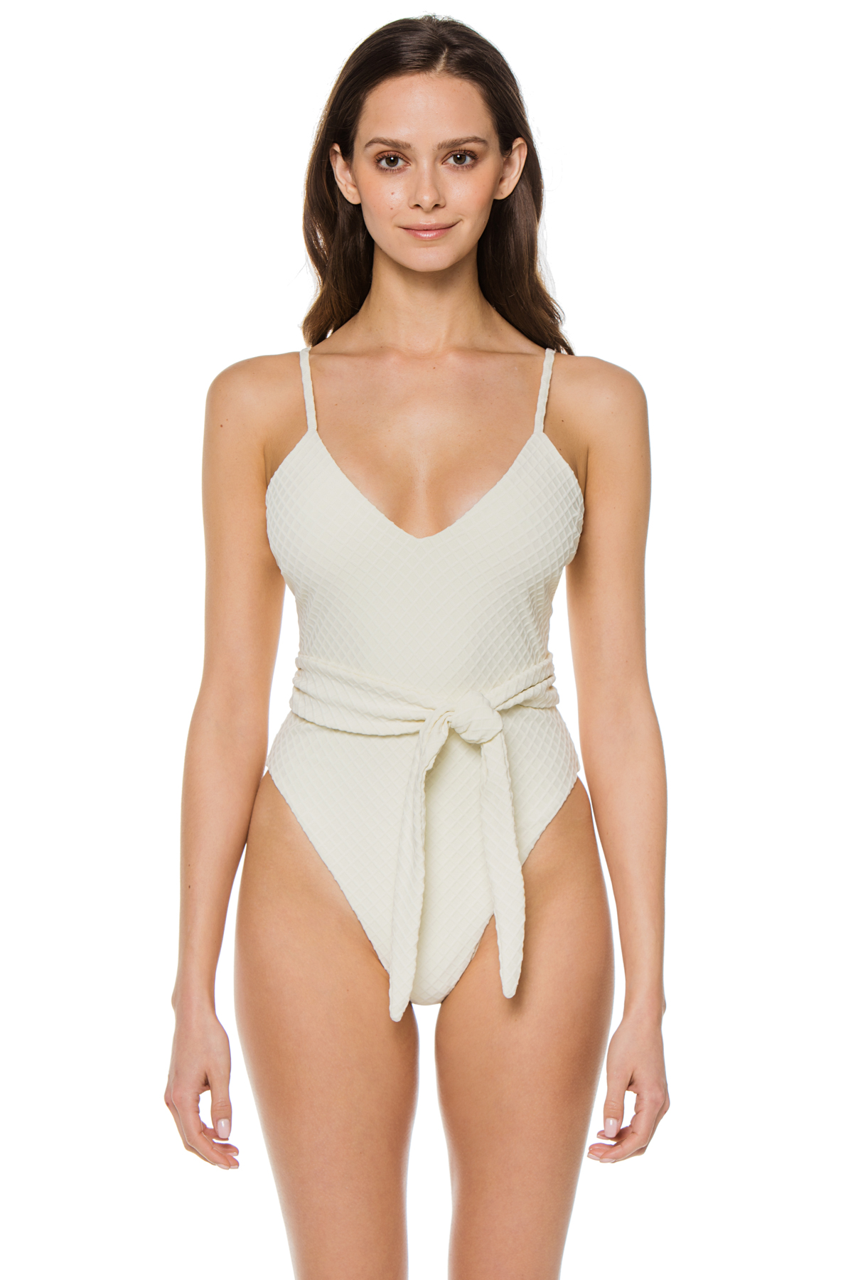 Gamela Over The Shoulder One Piece Swimsuit - Cream 1