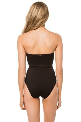Palm Belted Bandeau One Piece Swimsuit