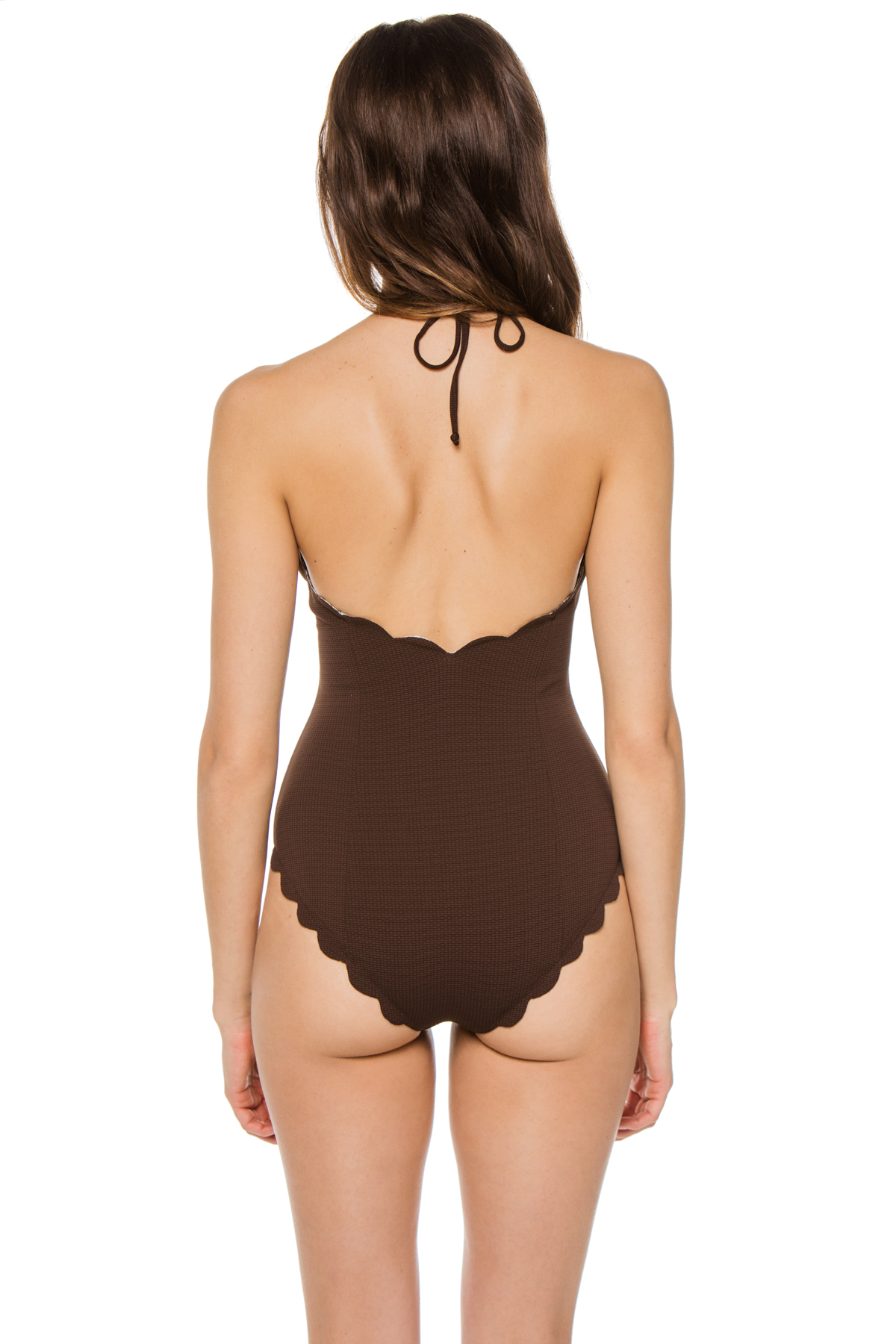 Reversible Plunge Halter One Piece Swimsuit - Solid S'Mores 3