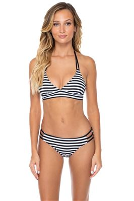 Lovebirds Lace-Up Banded Halter Bikini Top