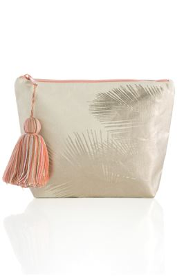 Metallic Palm Canvas Pouch