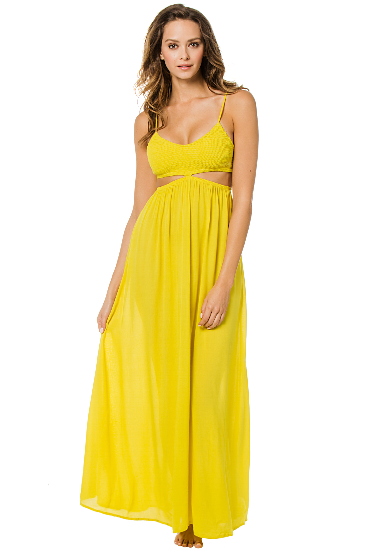 Smocked Neon Cutout Maxi Dress - Citrus 1