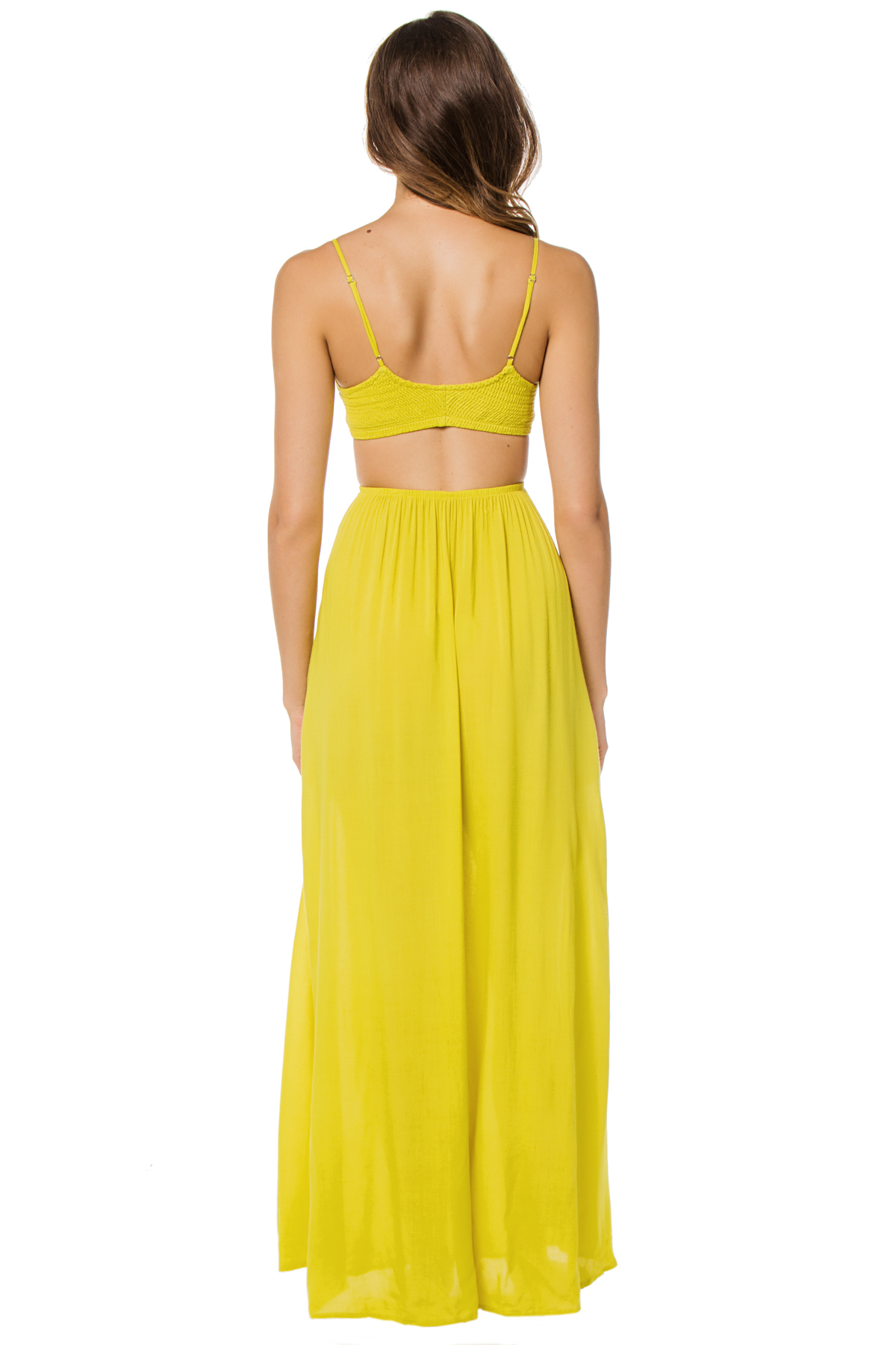 Smocked Neon Cutout Maxi Dress - Citrus 2