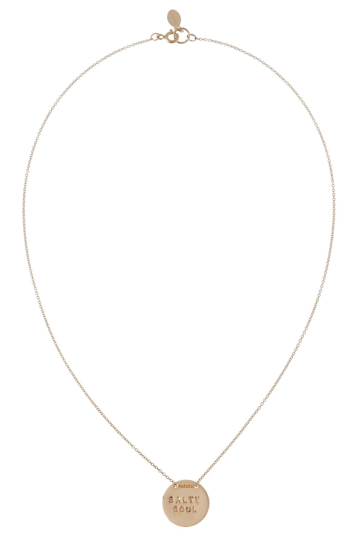 Salty Soul Stamped Disc Necklace - Gold 1