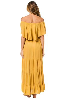 Off The Shoulder Flounce Maxi Dress
