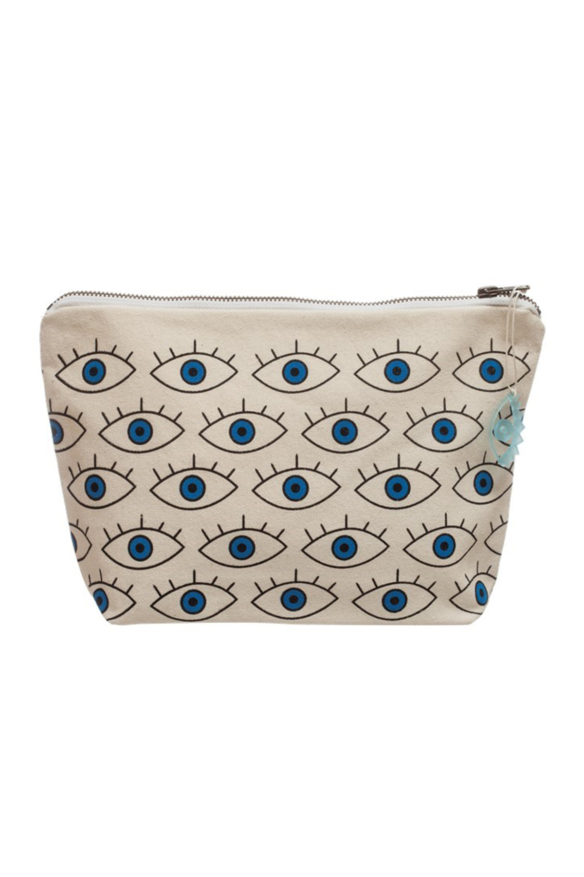 Evil Eyes Pouch - Natural/Blue 1