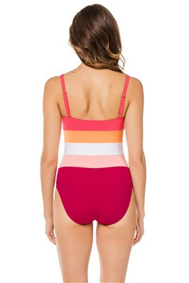 Color Block Over The Shoulder One Piece Swimsuit