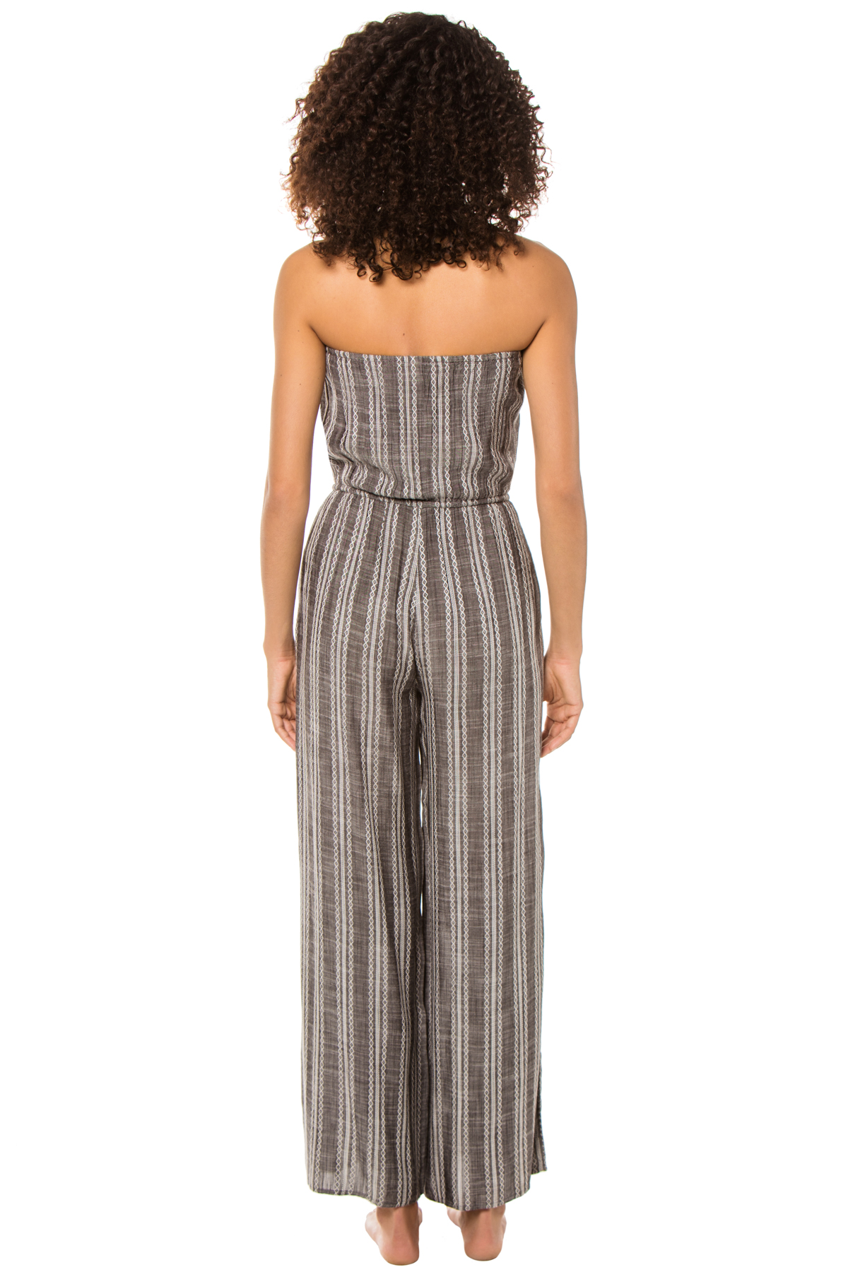 Striped Strapless Jumpsuit - Grey 2