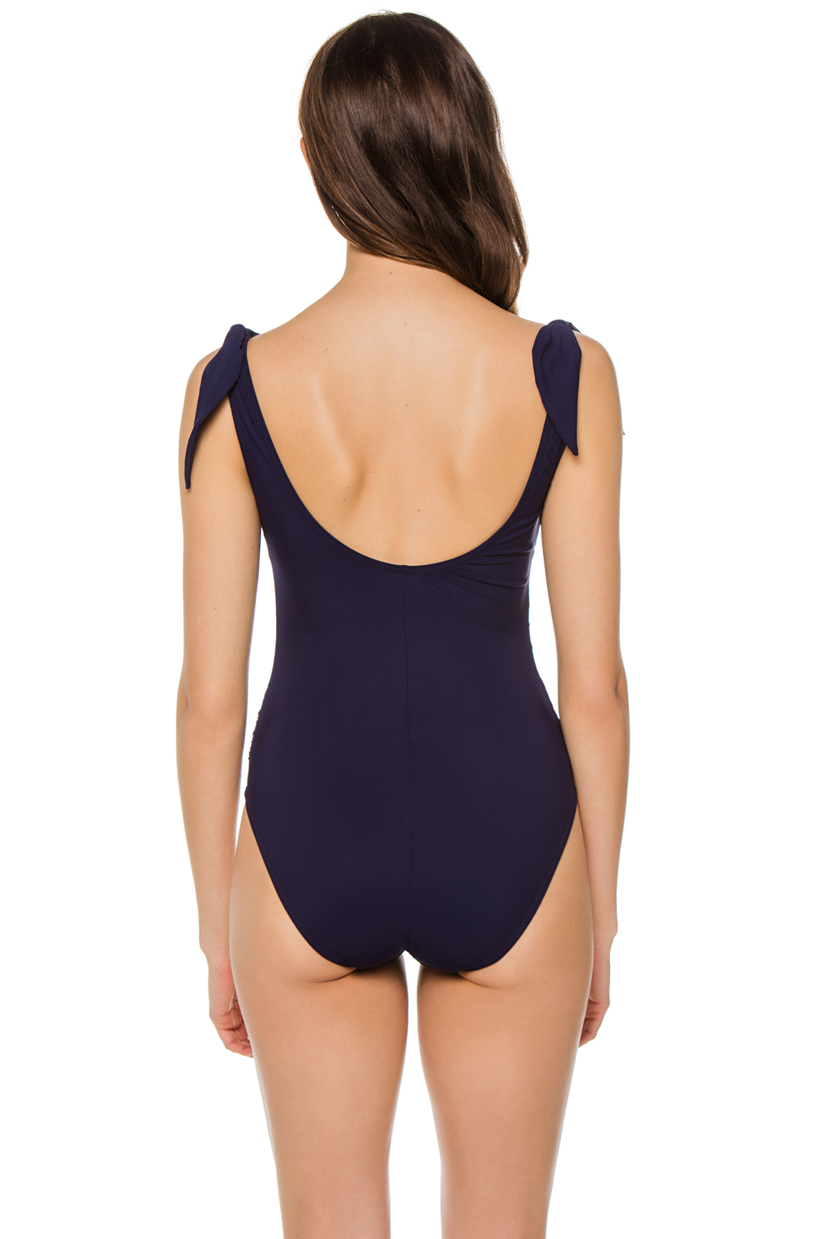 Knot Tie Over The Shoulder One Piece Swimsuit - Navy 2