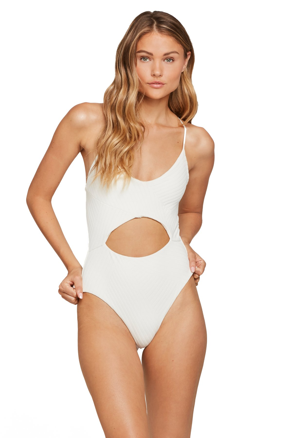 Miss Molly Lingerie Strap One Piece Swimsuit - Cream 1