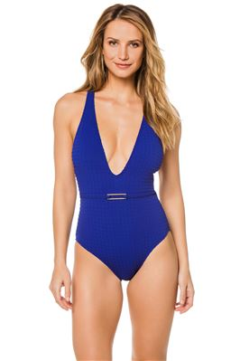 Textured Plunge One Piece Swimsuit