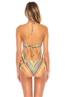 Metallic Stripe High Neck Tankini Top