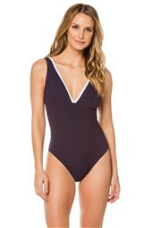 V-Neck Over The Shoulder One Piece Swimsuit