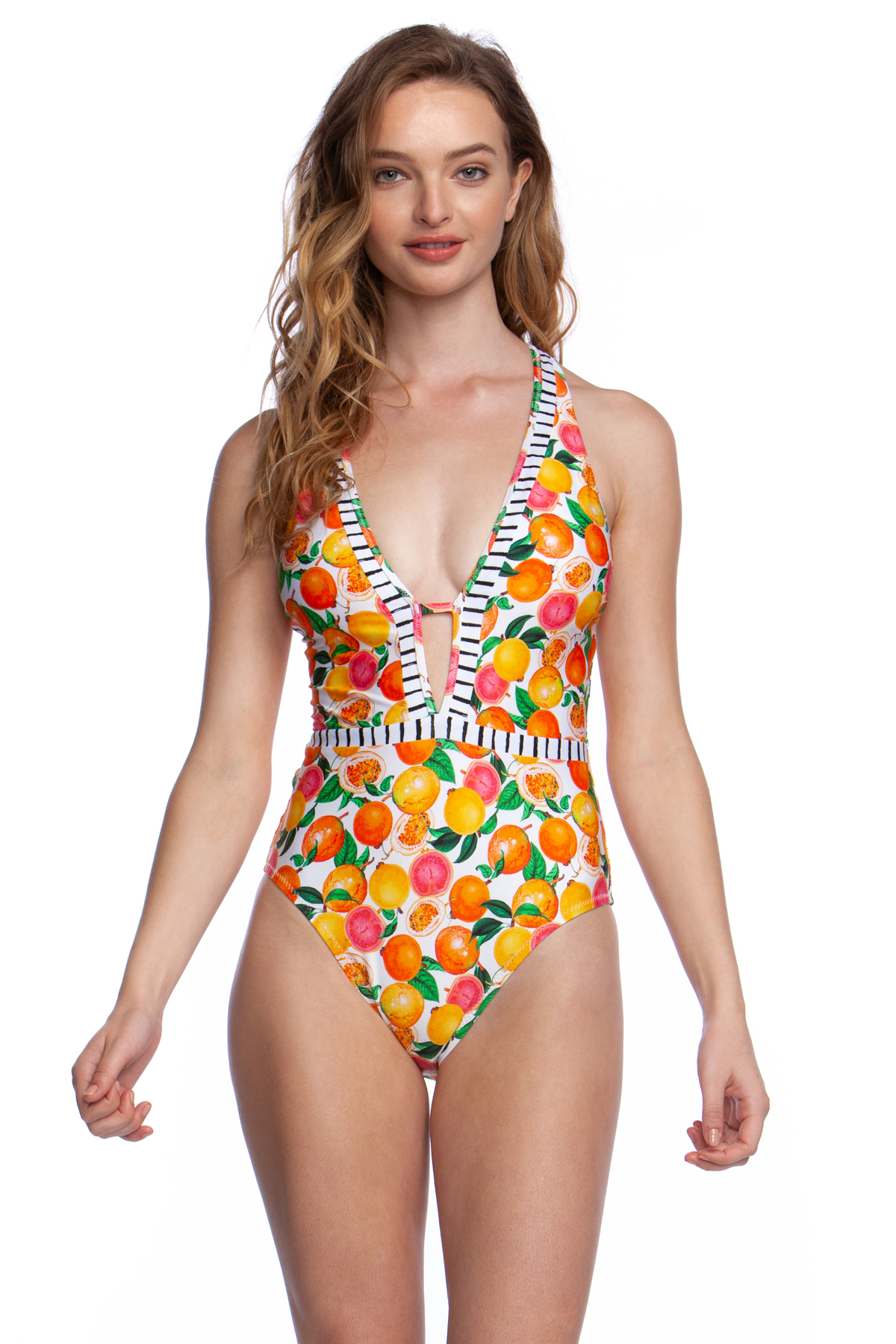 Goddess Plunge One Piece Swimsuit - Multi