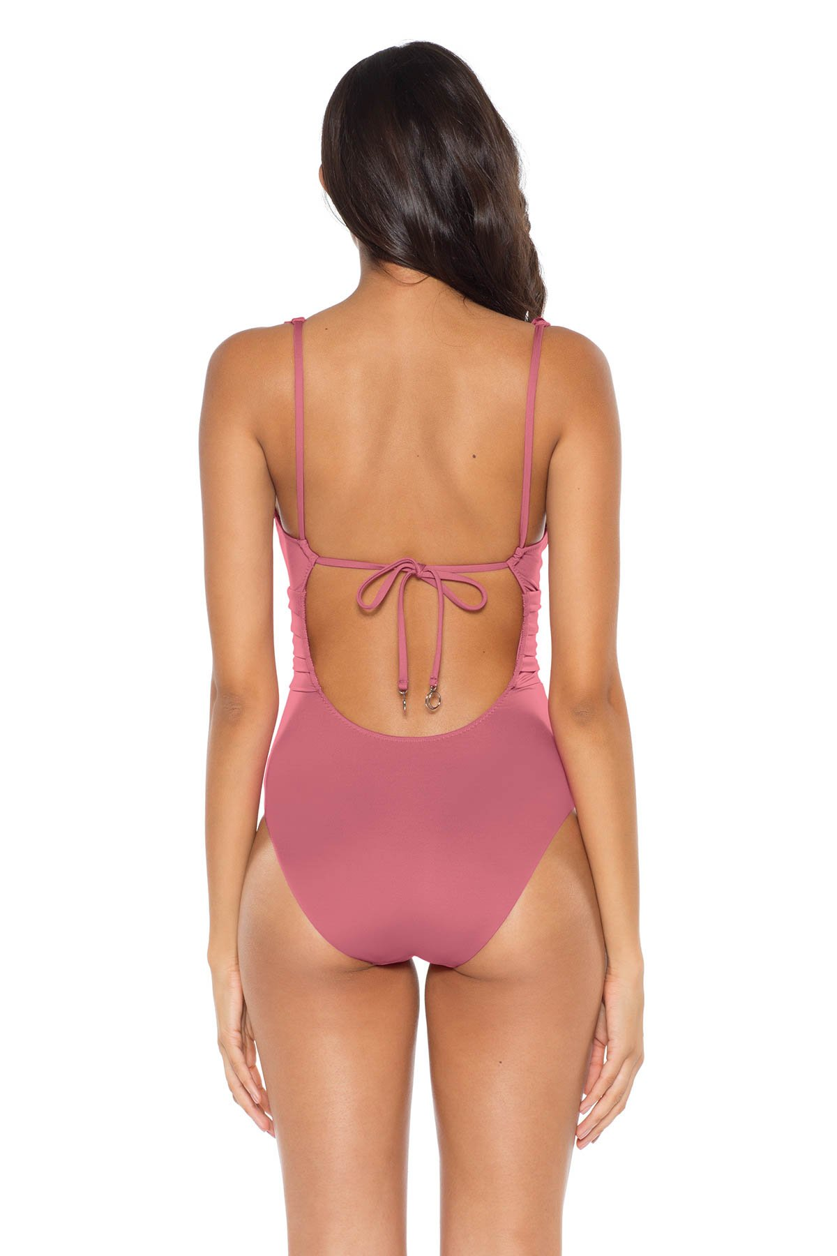 Ruffle Plunge One Piece Swimsuit - Mulberry 6